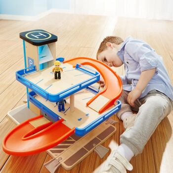 Top Bright Wooden Car Parking Toy Ramp Racer 3 Floor Competition Track Racing