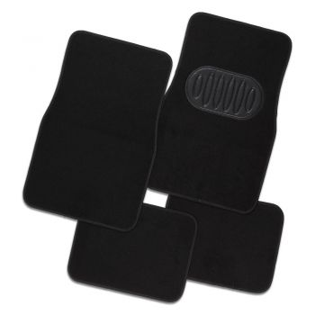 Pilot Automotive Black Luxury Universal Car Floor Mat Carpet - Set Of 4