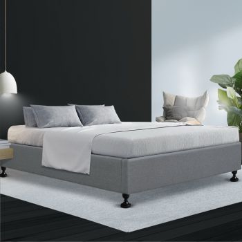 Artiss Double Full Size Bed Frame Base Mattress Platform Fabric Wooden Grey TOMI
