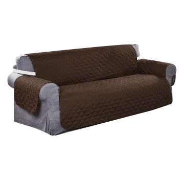 Sofa Cover Couch Protector Quilted Slipcovers Waterproof Coffee 335cm x 218cm