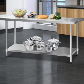 Cefito 1829x760mm Stainless Steel Kitchen Benches Work Bench Food Prep Table 430 Food Grade Stainless Steel