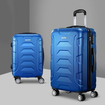 Wanderlite 2pc Luggage Sets Suitcases Blue TSA Hard Case Lightweight Scale Blue Travel