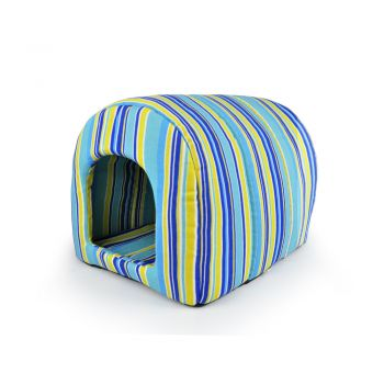 PaWz Pet Dog House Kennel Soft Igloo Beds Cave Cat Puppy Bed  Cushion M Blue