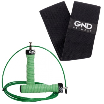 GND Skipping Rope & Fabric Resistance Band // Pack - The Hulk / 38cm Black