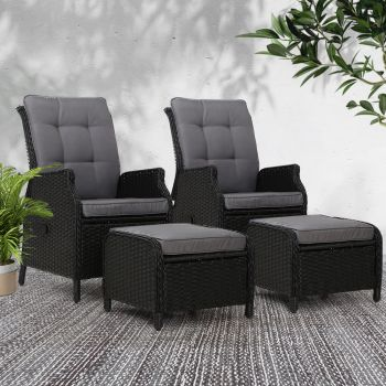 Gardeon Recliner Chairs + Ottomans Sun lounge Outdoor Setting Patio Furniture Wicker Sofa 2pcs Black