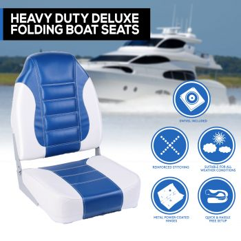 Heavy Duty Boat Seats Premium Boat Folding w/ Swivels All Weather Blue