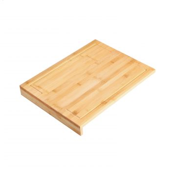 Gourmet Kitchen Bamboo Cutting Board With Counter Edge - Natural Brown