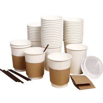 Disposable Takeaway Coffee Cups With Lids 110pcs 12oz