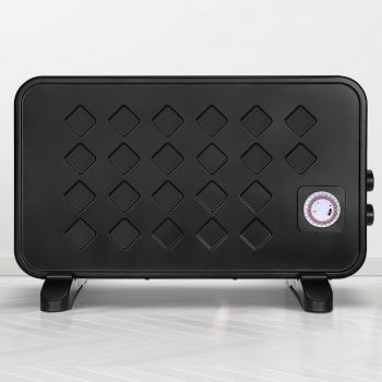 Devanti Metal Panel Heater 2000W Portable Small Space Convection Heaters Heat Timer Thermostat Setting Home Office Room Heating Black