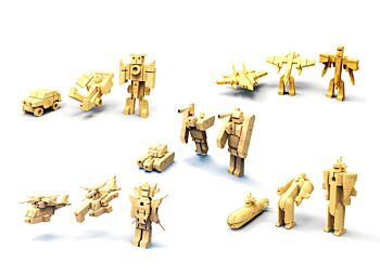 PRICE FOR 5 ASSORTED WOODEN TRANSFORMERS