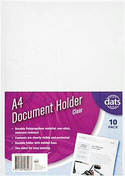 Document File Holder A4 Clear 10 Pack