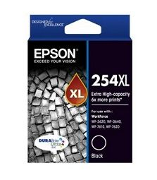 Epson 254XL Extra High Yield Black Ink Cartridge - Workforce 3620 / 3640 / 7610 / 7620 - Estimated Page Yield: 2200 pages - C13T254192