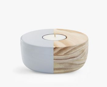 Small Wooden Bowl Maxi Tea Light Holder - Grey