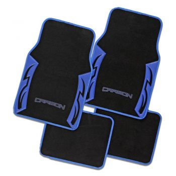 Carbon Blue Carpet Car Floor Mats Universal Fit