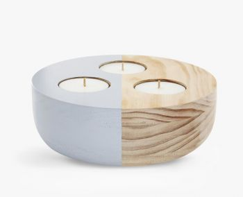 Large Wooden Bowl Maxi Tea Light Holder - Grey