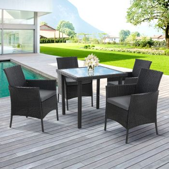 Outdoor Dining Set Table and Chairs Patio Furniture Wicker Rattan Setting Garden Gardeon
