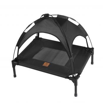 Charlies Elevated Pet Bed With Tent Black Small