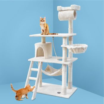 i.Pet Cat Tree Trees Scratching Post Scratcher Tower Condo House Furniture Wood Beige 141cm