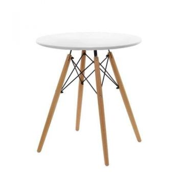 Replica Eames DSW Eiffel Dining Table Kithcen Cafe 4 Seater Timber Round White