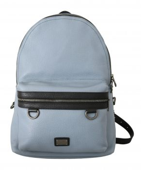 Dolce & Gabbana Light Blue Logo Casual School Backpack Leather Bag