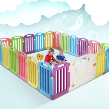 Cuddly Baby Playpen 21Panel Plastic Play Pen Interactive Kids Toddler Gate