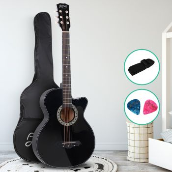 Guitar Acoustic Guitars 38 Inch Wooden Folk Classical Cutaway Steel String For Kids and Adult Black Alpha