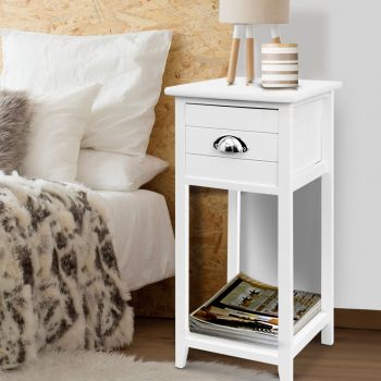 Bedside Tables Drawers Side Table Cabinet Nightstand White Vintage Unit
