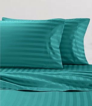 King Single Bed Stripe Soft Microfibre Sheet Set in Teal