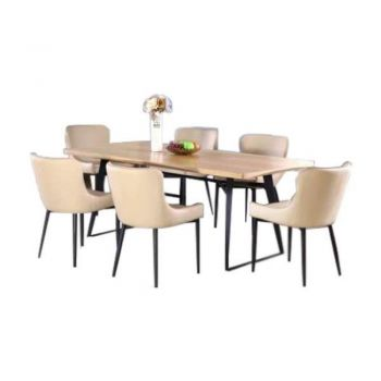 Carina Coco 7PC Dining Set 6 Seater Rectangular Dining Table 200cm With Coco Dining Chair Beige