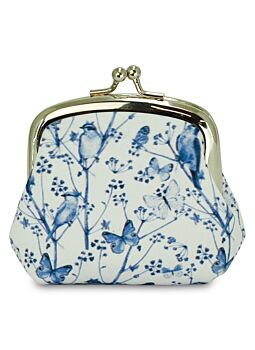 Beautiful Cloth Covered and Lined Coin Purse Blue Dusk