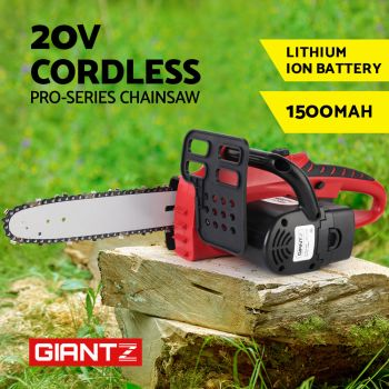 "20V Cordless Chainsaw Electric LithiumIon Chargeable Pruner 10""  Garden Giantz"