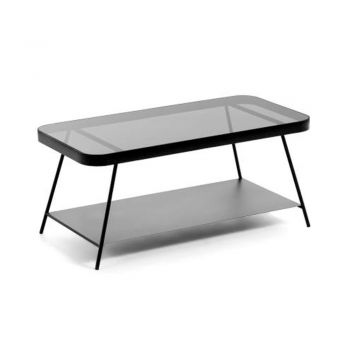 Deli 2-Level Coffee Table - Black Metal Frame - Black Smoky Glass Top