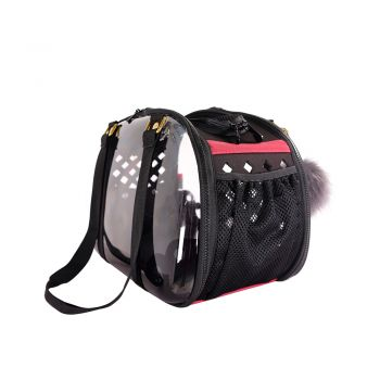 Ibiyaya Hardshell Travel Carrier for cats & Dogs up to 5kg - Black + Fluffy Tag