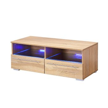 Levede TV Wooden LED Lowline Cabinet in Oak Colour