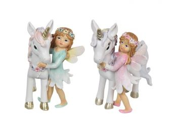 Standing Flower Fairy Girl with Unicorn