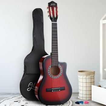 """Alpha 34"""" Inch Guitar Classical Acoustic Cutaway Wooden Ideal Kids Gift Children 1/2 Size Red"""