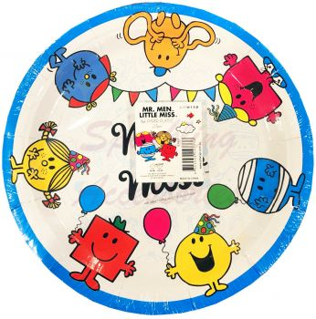 Mr. Men Little Miss Paper Plates - 8 Pack