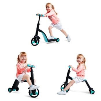 3 in 1 Kids Trike Scooter and Ride Tricycle Balance Bike Kick Scooter with Brake