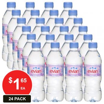 24 Pack, Evian 500ml Natural Spring Water