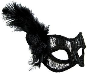 Masquerade Mask - Black Lace w/Feather