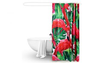 2 Pcs 180x180cm Flamingo Print Waterproof Bathroom Shower Crutain with 12 Hooks