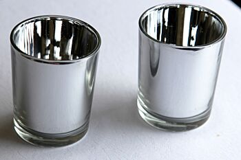 24 Pack - Silver Glass Tealight Cup Candle Holder - Anniversary Wedding Party Table Decoration