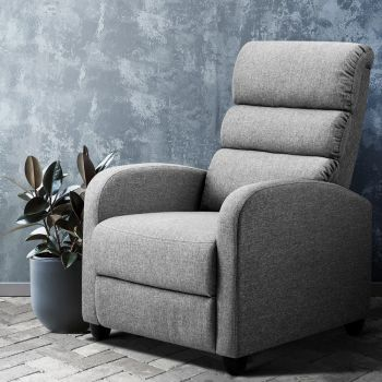 Artiss Recliner Chair Luxury Lounge Chairs Armchair Sofa Fabric Adjustable Grey