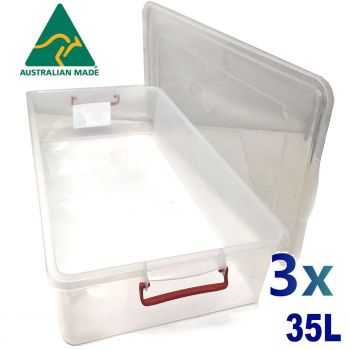 3x 35L Australian Made Premium Underbed Plastic Storage Tub Under Bed Box Large