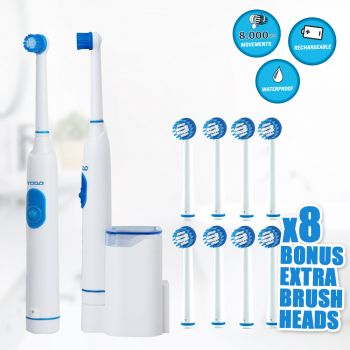 Rechargeable Electric Toothbrush Oscillating 8X Replacement Brush Heads