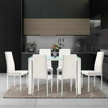 Artiss Astra 7piece Dining Table and Chairs Dining Set Tempered Glass Leather Seater Metal Legs White