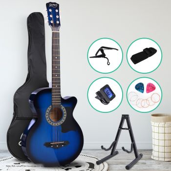 Guitar Acoustic Guitars 38 Inch Wooden Folk Classical Cutaway Steel String w/ Capo Tuner Stand For Kids and Adult Blue Alpha