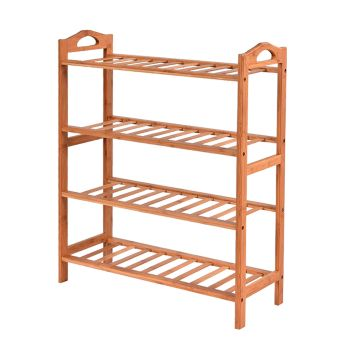 Levede 4 Tier Bamboo Storage Shoe Rack Organiser
