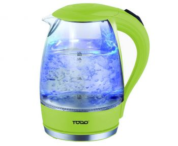 TODO 1.7L Glass Cordless Kettle 2200W Blue Led Light Kitchen Water Jug Green