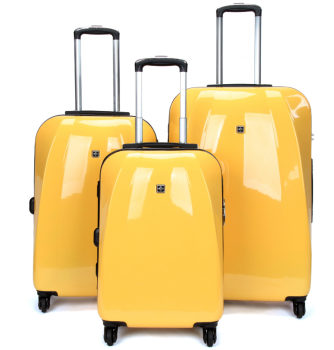 Swiss  Luggage Suitcase Lightweight with TSA locker 8 wheels 360 degree rolling HardCase 3 Pieces Set SN6104A&B&C-Yellow
